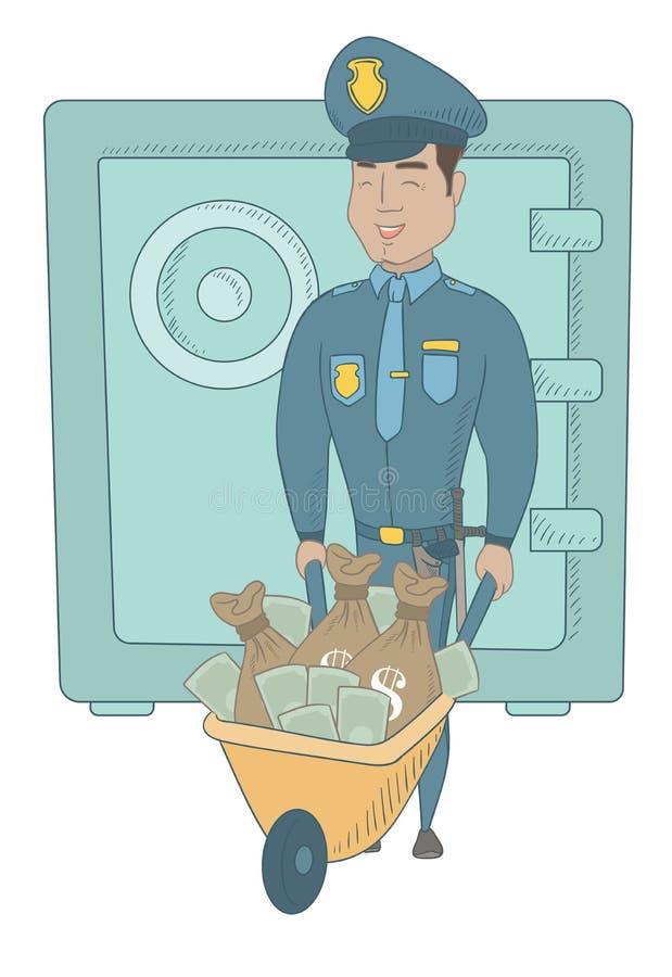 Νέος ισπανικός αστυνομικός με τα δημευμένα χρήματα διανυσματική απεικόνιση