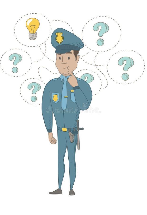 Νέος ισπανικός αστυνομικός που έχει μια ιδέα διανυσματική απεικόνιση