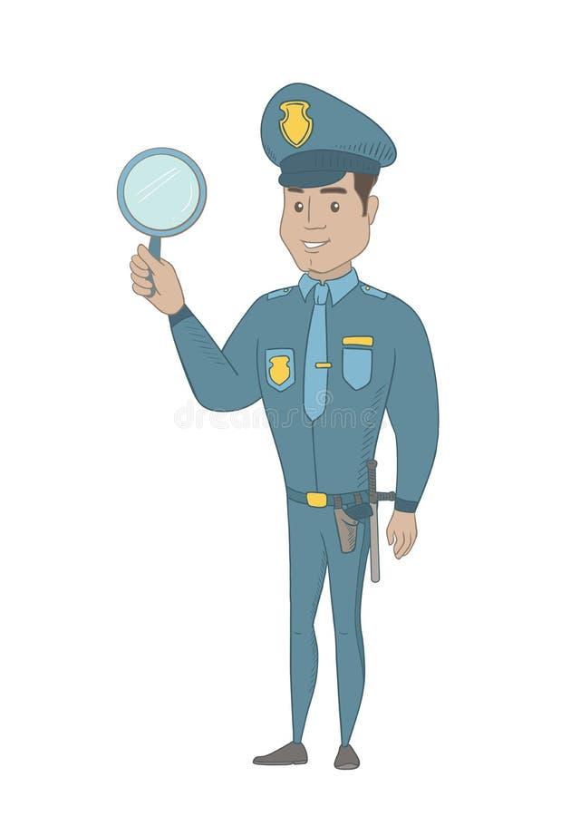 Νέος ισπανικός αστυνομικός που κρατά έναν καθρέφτη χεριών απεικόνιση αποθεμάτων