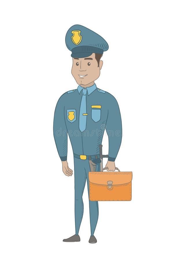 Νέος ισπανικός αστυνομικός που κρατά έναν χαρτοφύλακα απεικόνιση αποθεμάτων
