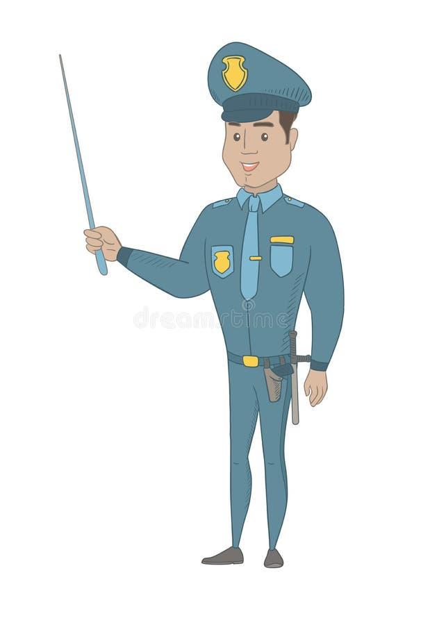 Νέος ισπανικός αστυνομικός που κρατά ένα ραβδί δεικτών απεικόνιση αποθεμάτων