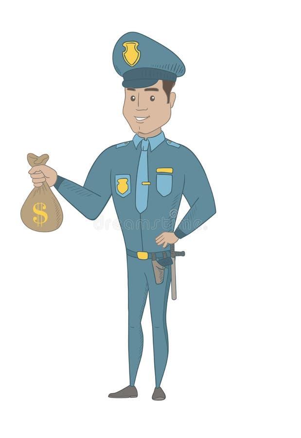 Νέος ισπανικός αστυνομικός που κρατά μια τσάντα χρημάτων ελεύθερη απεικόνιση δικαιώματος