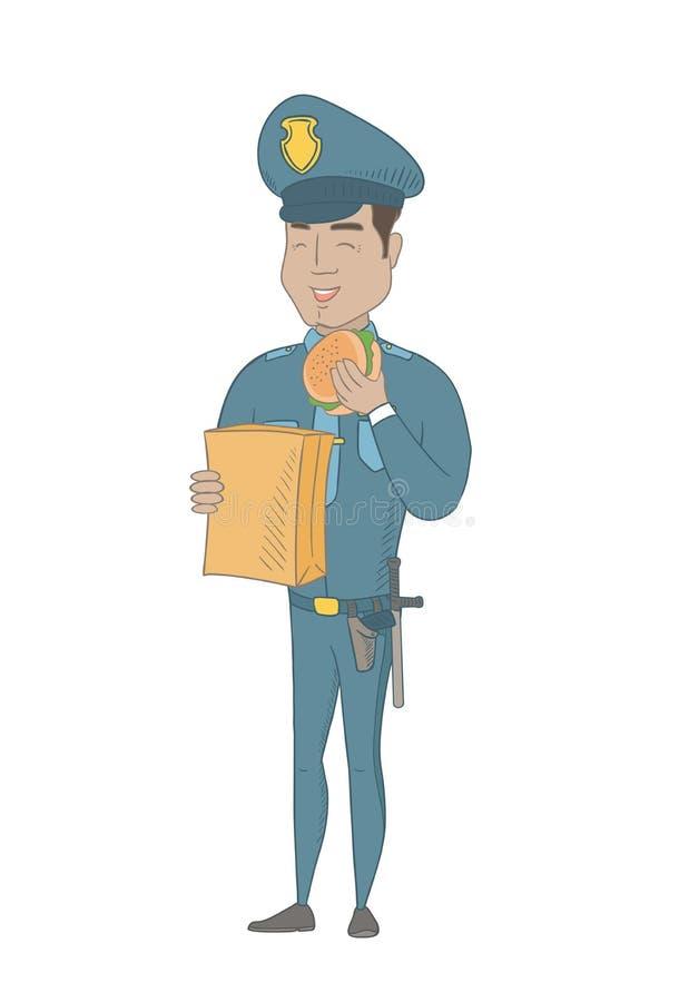 Νέος ισπανικός αστυνομικός που τρώει το χάμπουργκερ διανυσματική απεικόνιση