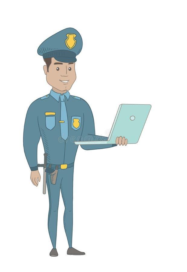 Νέος ισπανικός αστυνομικός που χρησιμοποιεί ένα lap-top διανυσματική απεικόνιση