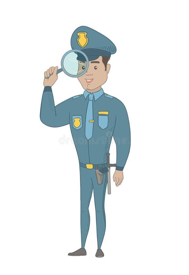 Νέος ισπανικός ιδιωτικός αστυνομικός με την ενίσχυση - γυαλί ελεύθερη απεικόνιση δικαιώματος
