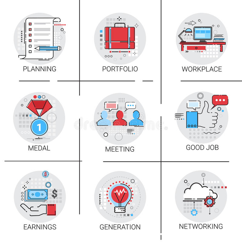 Νέος ιδέας παραγωγής λαμπών φωτός των επιχειρησιακών εργασιακών χώρων συνεδρίασης προγραμματισμός συνεργασίας αποδοχών εικονιδίων διανυσματική απεικόνιση