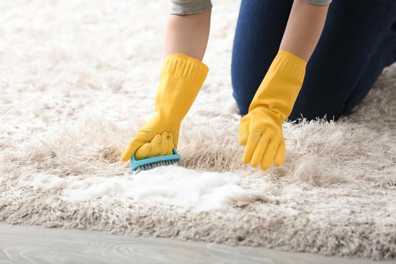 Νέος καθαρίζοντας τάπητας γυναικών στο σπίτι στοκ φωτογραφία