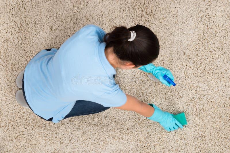 Νέος καθαρίζοντας τάπητας γυναικών στοκ εικόνες