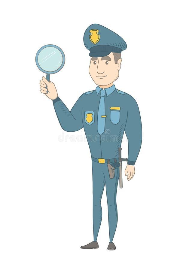 Νέος καυκάσιος αστυνομικός που κρατά έναν καθρέφτη χεριών διανυσματική απεικόνιση