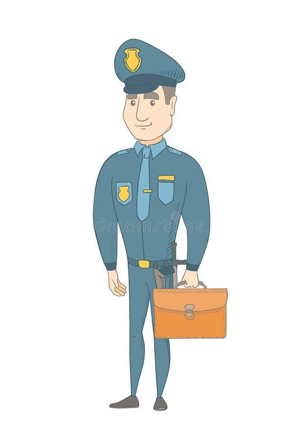 Νέος καυκάσιος αστυνομικός που κρατά έναν χαρτοφύλακα διανυσματική απεικόνιση