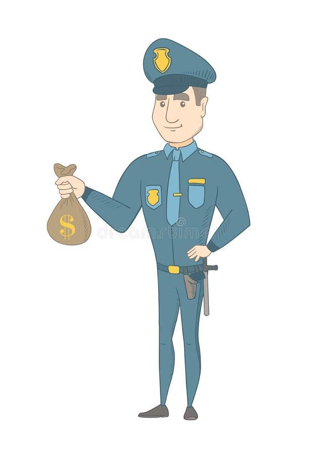 Νέος καυκάσιος αστυνομικός που κρατά μια τσάντα χρημάτων ελεύθερη απεικόνιση δικαιώματος