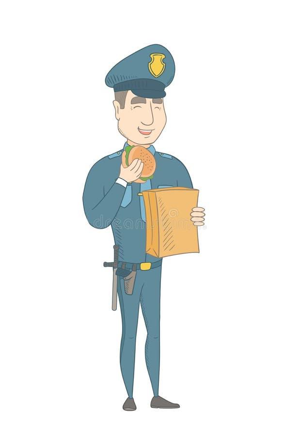 Νέος καυκάσιος αστυνομικός που τρώει το χάμπουργκερ ελεύθερη απεικόνιση δικαιώματος