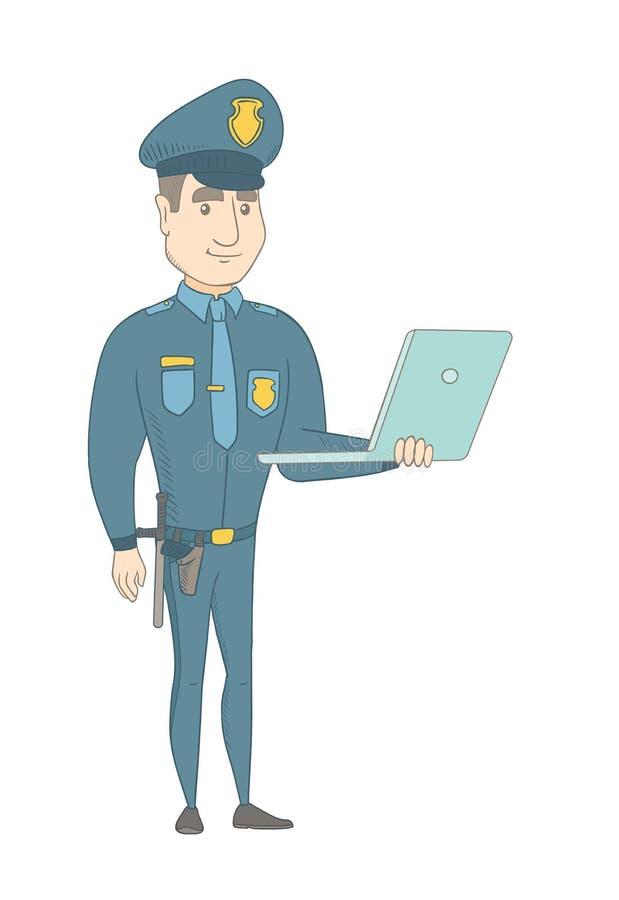 Νέος καυκάσιος αστυνομικός που χρησιμοποιεί ένα lap-top διανυσματική απεικόνιση