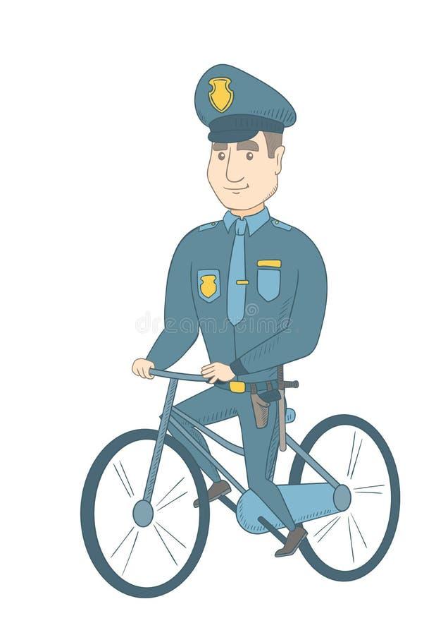 Νέος καυκάσιος αστυνομικός στο ποδήλατο απεικόνιση αποθεμάτων