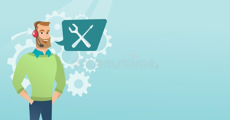 Νέος καυκάσιος χειριστής τεχνικής υποστήριξης διανυσματική απεικόνιση