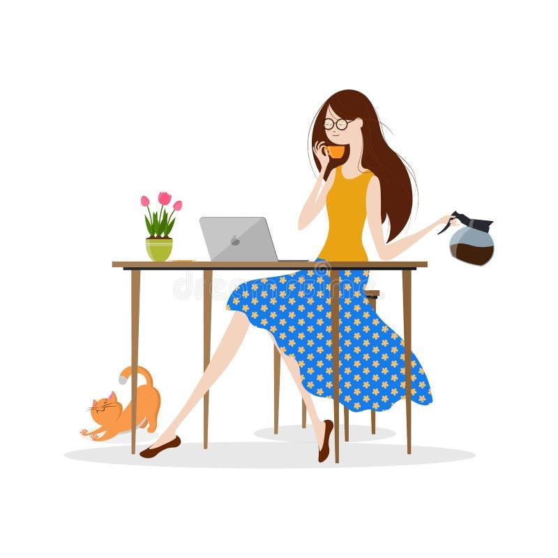 Νέος καφές κατανάλωσης γυναικών και εργασία στο φορητό προσωπικό υπολογιστή διανυσματική απεικόνιση