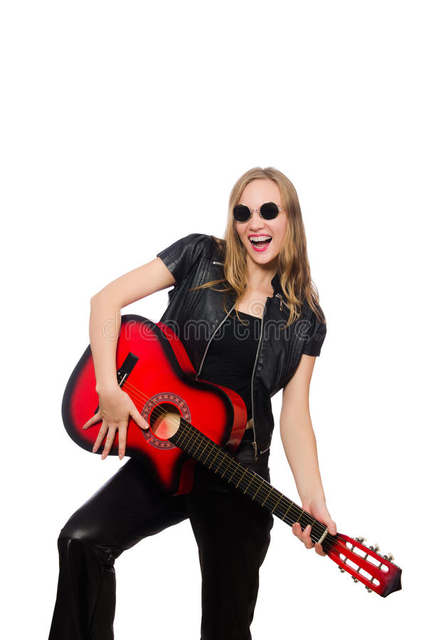 Download Νέος κιθαρίστας γυναικών που απομονώνεται στο λευκό Στοκ Εικόνες - εικόνα από party, popcorn: 62706372