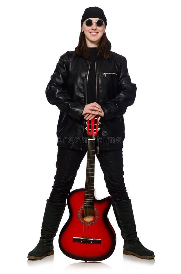 Download Νέος κιθαρίστας που απομονώνεται στο λευκό Στοκ Εικόνα - εικόνα από κωμικός, συναυλία: 62708217