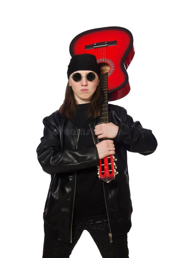 Download Νέος κιθαρίστας που απομονώνεται στο λευκό Στοκ Εικόνες - εικόνα από καλλιτεχνών, party: 62708232