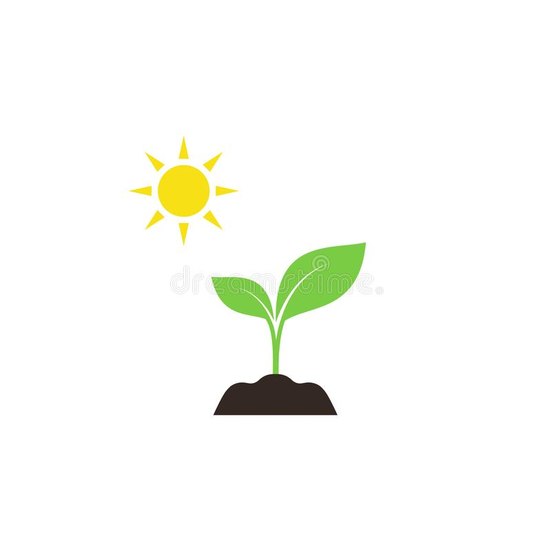 Νέος νεαρός βλαστός στο χώμα με το ζωηρόχρωμο διανυσματικό εικονίδιο ήλιων διανυσματική απεικόνιση