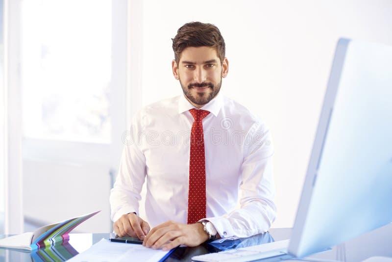 Νέος οικονομικός βοηθητικός επιχειρηματίας που εργάζεται στον υπολογιστή στοκ εικόνες