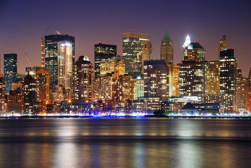 νέος ορίζοντας Υόρκη νύχτα&s στοκ φωτογραφία