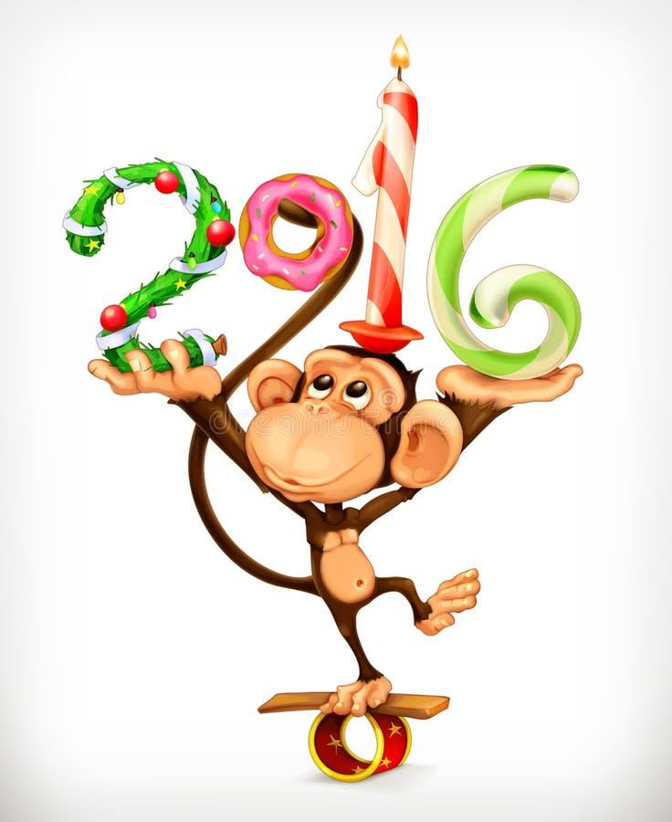 Νέος πίθηκος έτους διανυσματική απεικόνιση