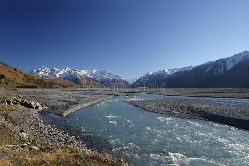νέος ποταμός Ζηλανδία rakaia το& στοκ εικόνες