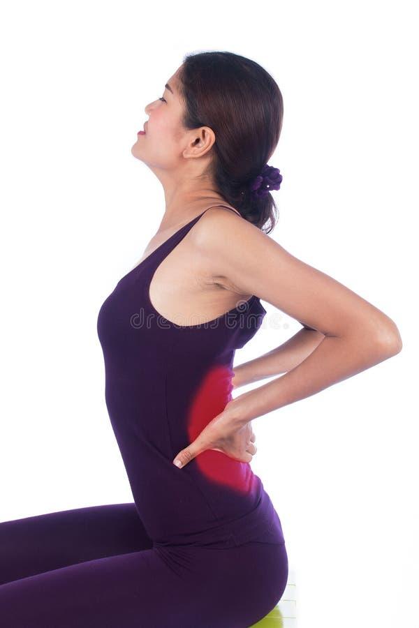Νέος πόνος στην πλάτη γυναικών στοκ εικόνα