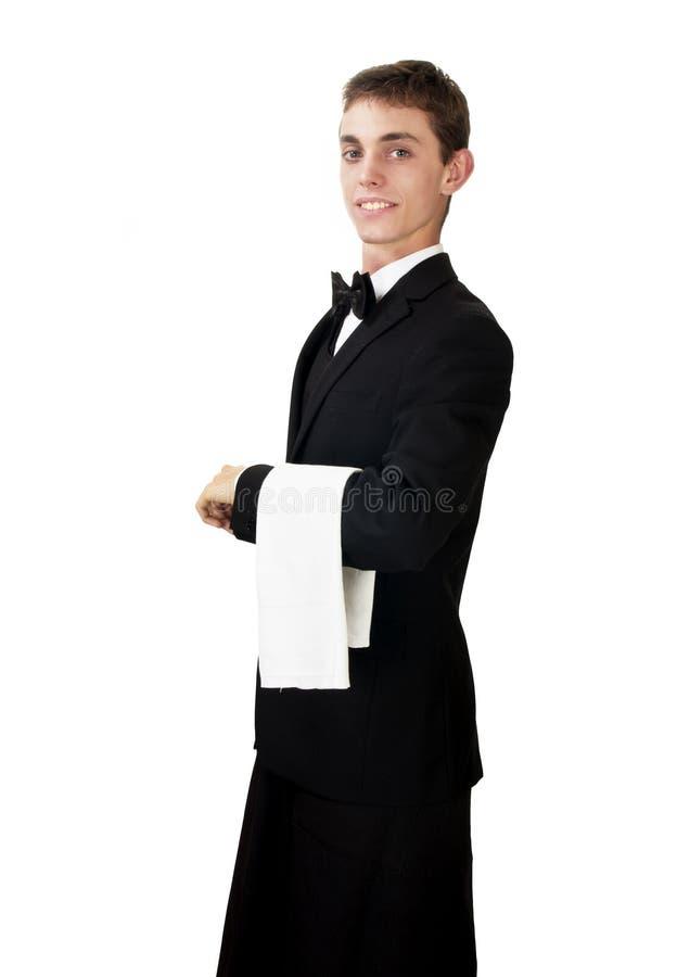 Νέος σερβιτόρος στην εργασία uniformon στοκ εικόνα με δικαίωμα ελεύθερης χρήσης