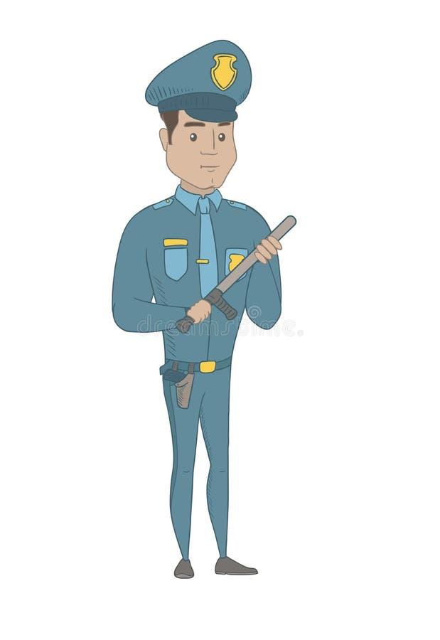 Νέος σοβαρός ισπανικός αστυνομικός με το μπαστούνι ελεύθερη απεικόνιση δικαιώματος