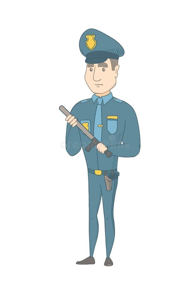 Νέος σοβαρός καυκάσιος αστυνομικός με το μπαστούνι απεικόνιση αποθεμάτων