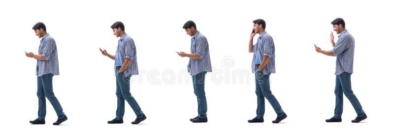 Νέος σπουδαστής με το smartphone που απομονώνεται στο λευκό στοκ εικόνες με δικαίωμα ελεύθερης χρήσης