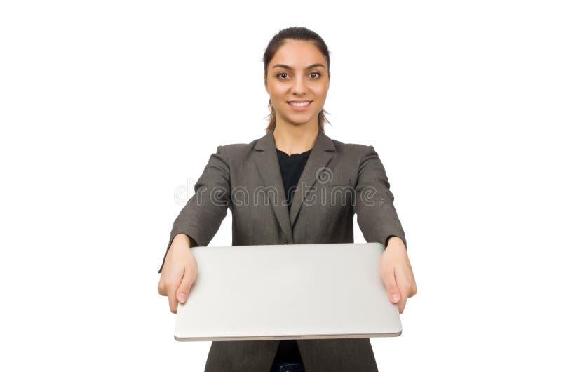 Download Νέος σπουδαστής με το Lap-top στο λευκό Στοκ Εικόνα - εικόνα από χαμόγελο, γραμματέας: 62704131