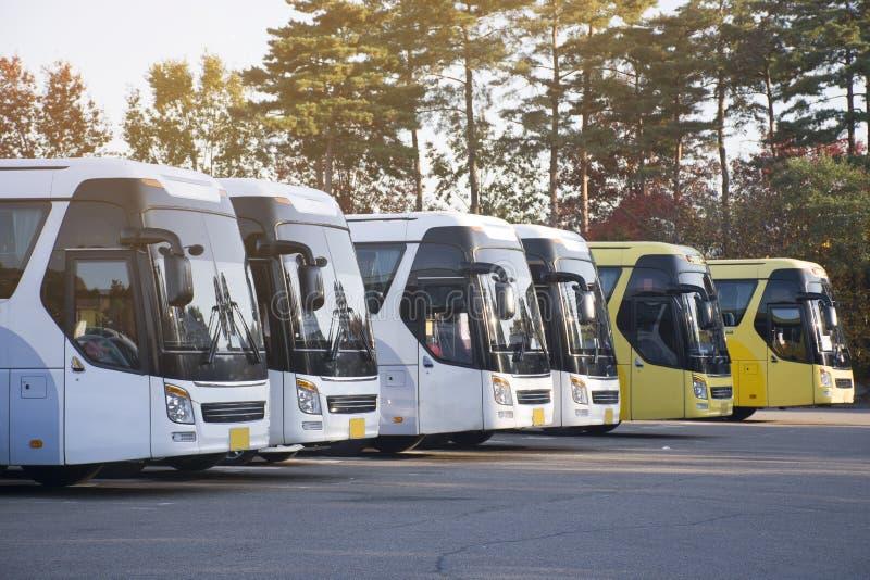Νέος στόλος λεωφορείων παρκάρει στην αυλή στάθμευσης στοκ εικόνες