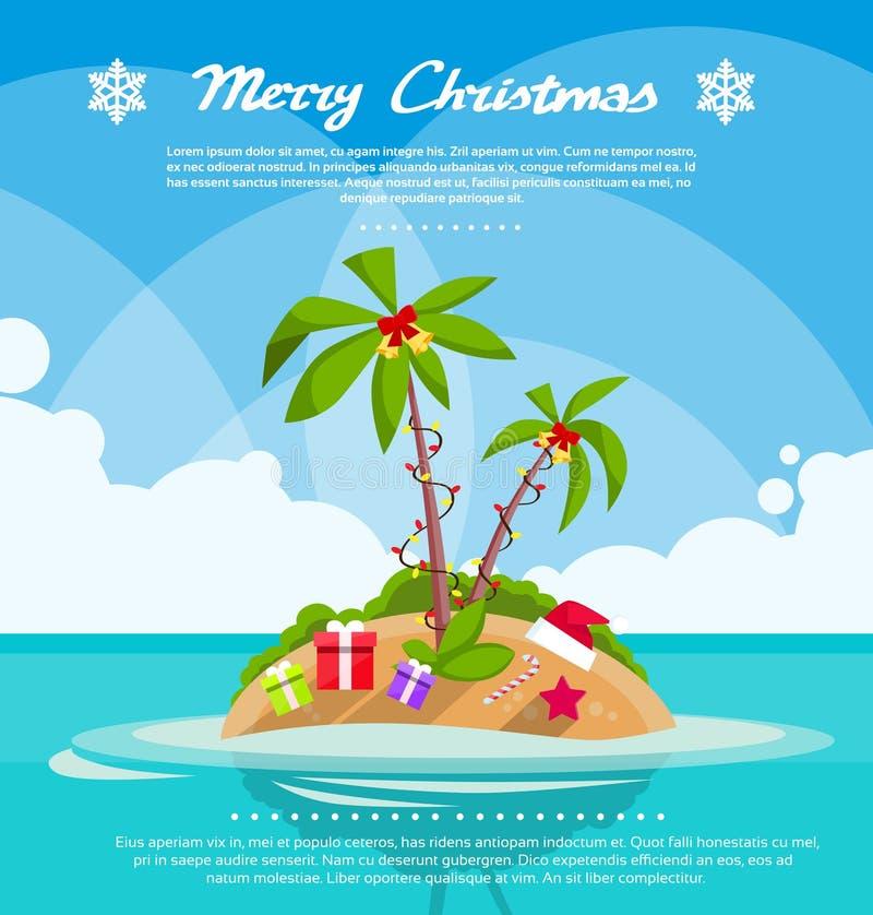 Νέος τροπικός ωκεανός διακοπών διακοπών Χριστουγέννων έτους ελεύθερη απεικόνιση δικαιώματος