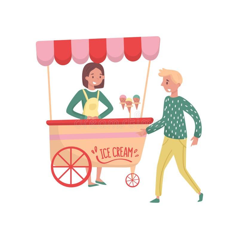 Νέος τύπος κοντά στο κάρρο με το παγωτό Προμηθευτής κοριτσιών με την εύθυμη έκφραση προσώπου Θέμα γρήγορου φαγητού Επίπεδο διανυσ διανυσματική απεικόνιση