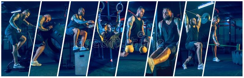 Νέος υγιής αθλητής ατόμων που κάνει την άσκηση στη γυμναστική Αθλητικό κολάζ στοκ φωτογραφίες με δικαίωμα ελεύθερης χρήσης
