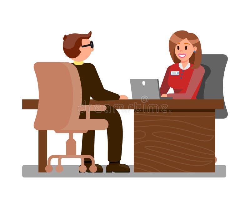 Νέος υποψήφιος στην επίπεδη απεικόνιση συνέντευξης εργασίας απεικόνιση αποθεμάτων