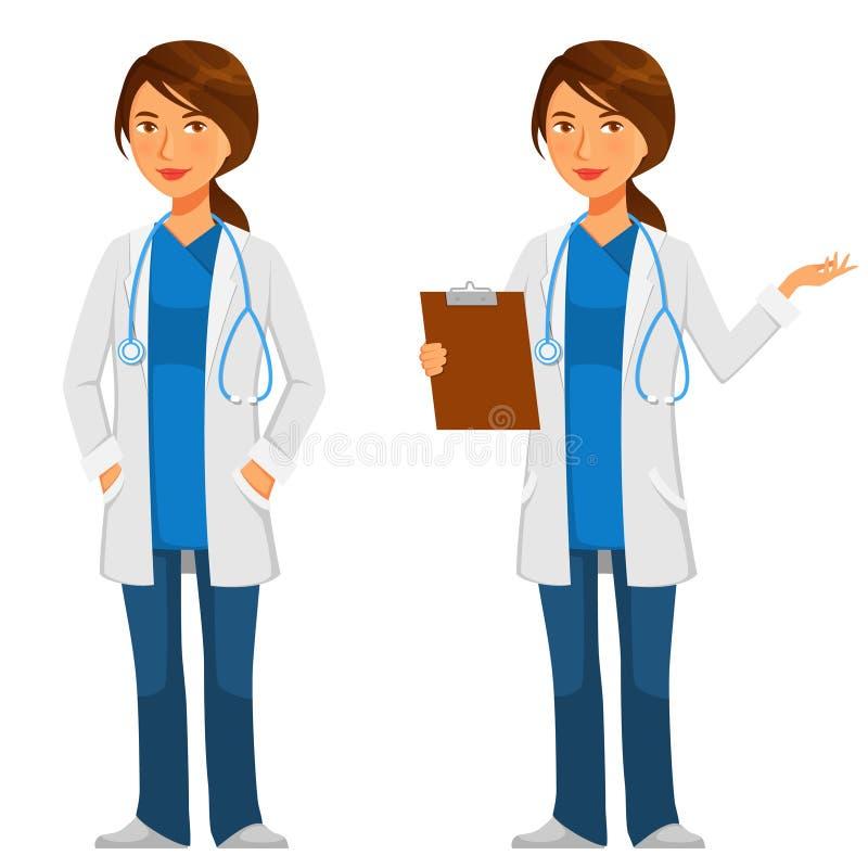 Νέος φιλικός γιατρός με το στηθοσκόπιο απεικόνιση αποθεμάτων