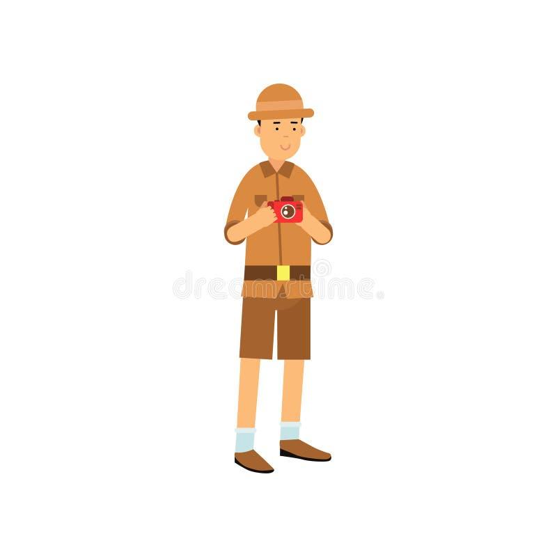 Νέος χαρακτήρας αρχαιολόγων με τη κάμερα στα χέρια απεικόνιση αποθεμάτων