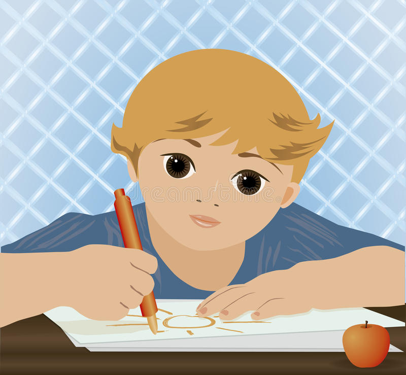 Νέος χαριτωμένος ήλιος γραψίματος αγοριών απεικόνιση αποθεμάτων