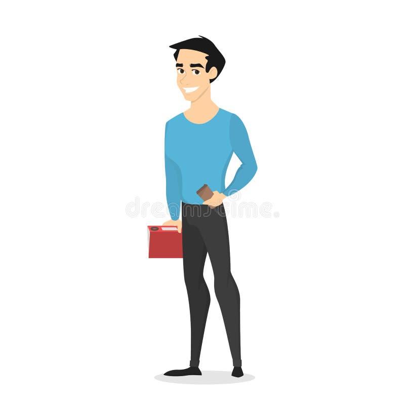 Νέος όμορφος αρσενικός χαρακτήρας που στέκεται με τον καφέ απεικόνιση αποθεμάτων