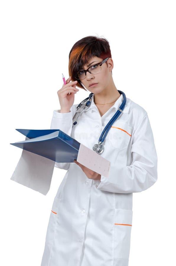 Νέος όμορφος γιατρός γυναικών με το phonendoscope στοκ φωτογραφία