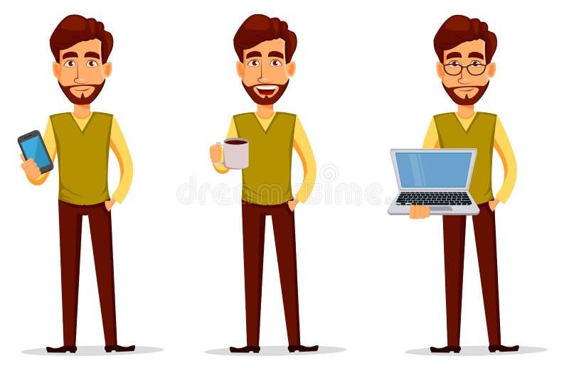 Νέος όμορφος επιχειρηματίας στα έξυπνα περιστασιακά ενδύματα με το lap-top, με το smartphone και με το ζεστό ποτό ελεύθερη απεικόνιση δικαιώματος