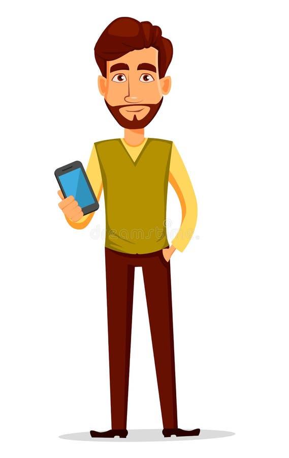 Νέος όμορφος επιχειρηματίας στα έξυπνα περιστασιακά ενδύματα που κρατά το smartphone ελεύθερη απεικόνιση δικαιώματος