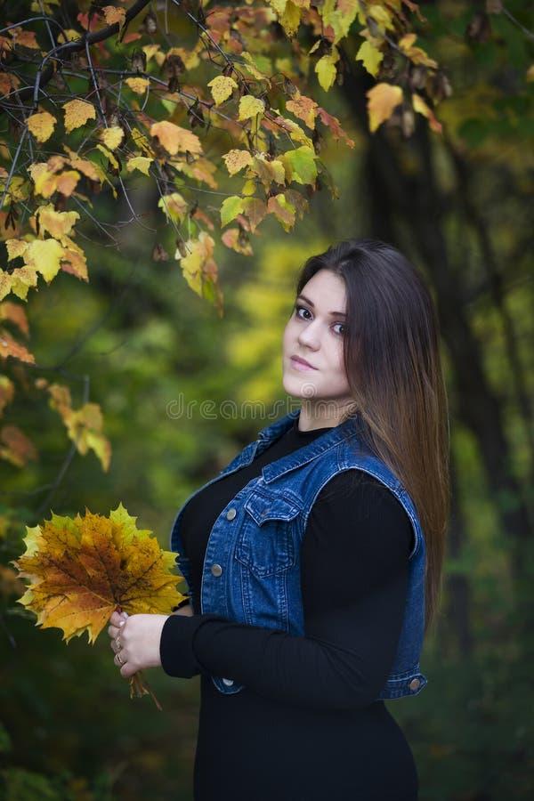 Νέος όμορφος καυκάσιος συν το πρότυπο μεγέθους στα τζιν περιβάλλει υπαίθρια, xxl γυναίκα στη φύση, ατμόσφαιρα φθινοπώρου στοκ εικόνα
