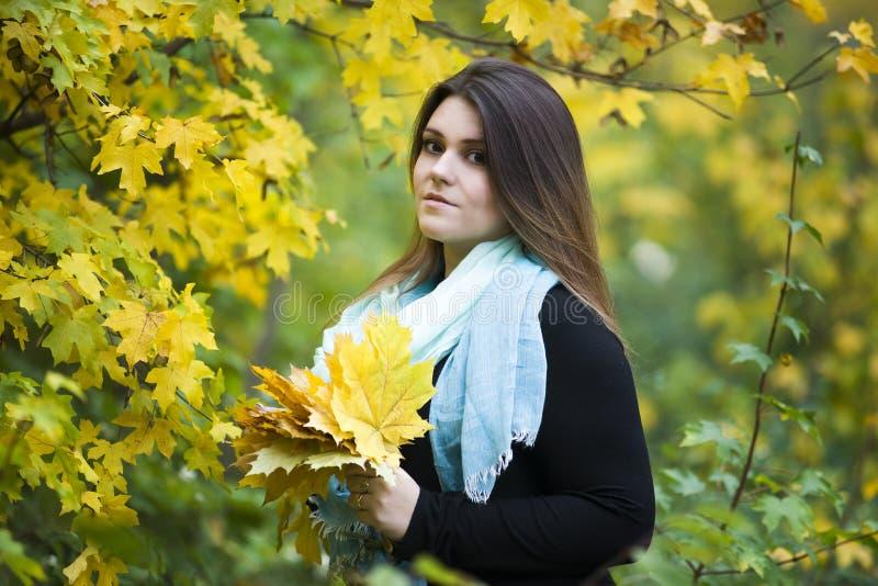 Νέος όμορφος καυκάσιος συν το πρότυπο μεγέθους στο μαύρο φόρεμα υπαίθρια, xxl γυναίκα στη φύση, ατμόσφαιρα φθινοπώρου στοκ φωτογραφίες