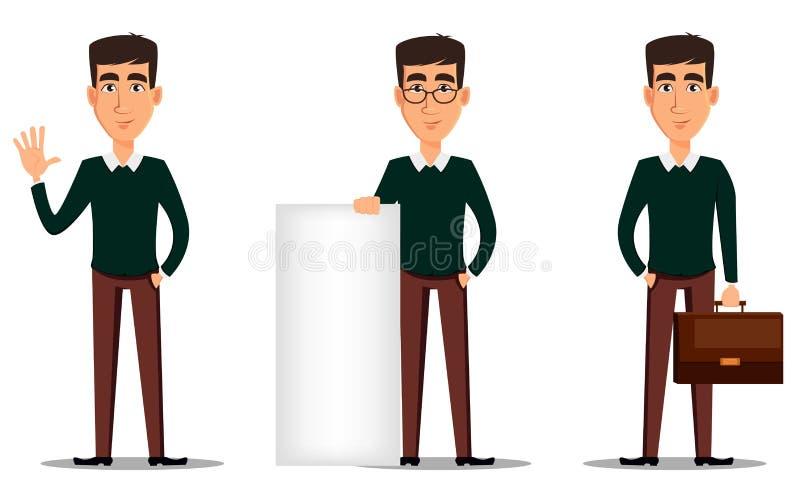 Νέος όμορφος χαμογελώντας επιχειρηματίας στα έξυπνα περιστασιακά ενδύματα Σύνολο τριών απεικονίσεων ελεύθερη απεικόνιση δικαιώματος