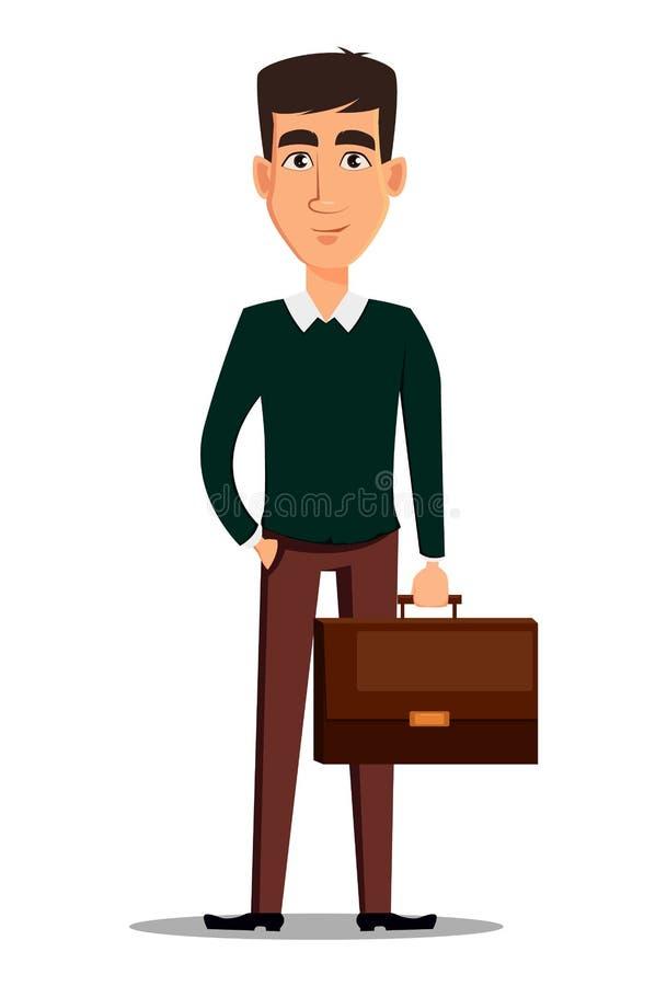 Νέος όμορφος χαμογελώντας επιχειρηματίας στο έξυπνο holdi περιστασιακών ενδυμάτων ελεύθερη απεικόνιση δικαιώματος